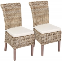 The Wicker Merchant Kooboo Grey Dining Chair with Cushion (Pair)