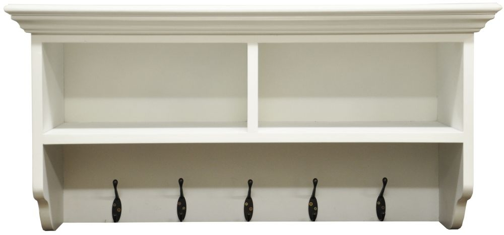 The Wicker Merchant 5 Hook Coat Rack with 2 Shelf Unit