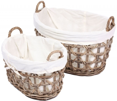 The Wicker Merchant Oval Lined Laundry Baskets with Weaving (Set of 2)