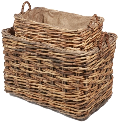 The Wicker Merchant Rectangular Log Baskets with Ear Handles and Hessian Linings (Set of 2)