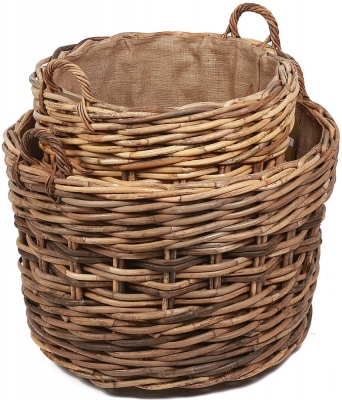 The Wicker Merchant Round Log Baskets with Ear Handles and Hessian Linings (Set of 2)