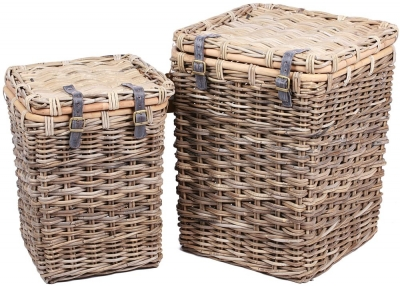 The Wicker Merchant Square Lined Laundry Baskets (Set of 2)