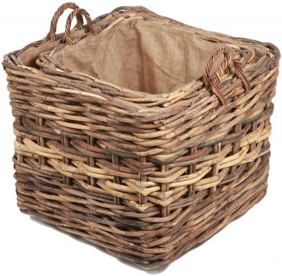 The Wicker Merchant Square Log Baskets with Ear Handles and Hessian Linings (Set of 2)