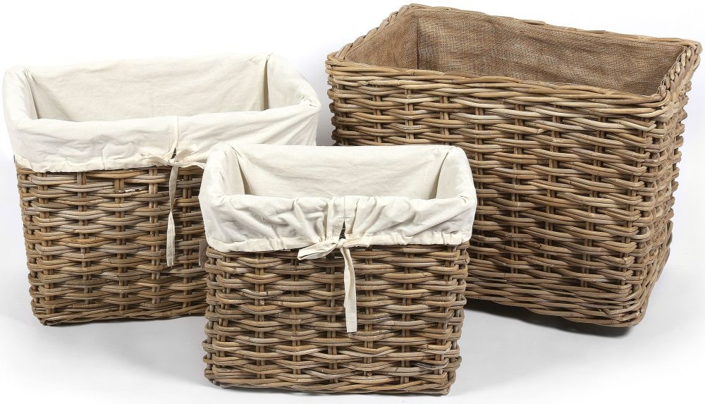 The Wicker Merchant Rectangular Log Baskets with Hessian Linings (Set of 3)