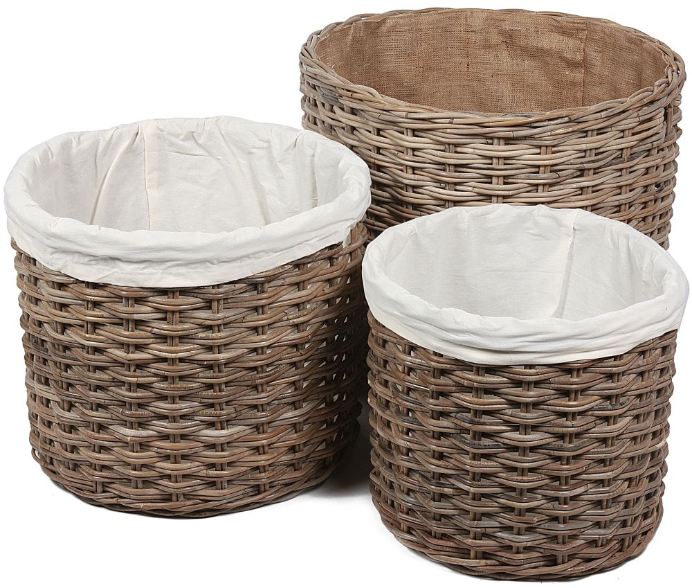 The Wicker Merchant Round Log Baskets with Hessian Linings (Set of 3)