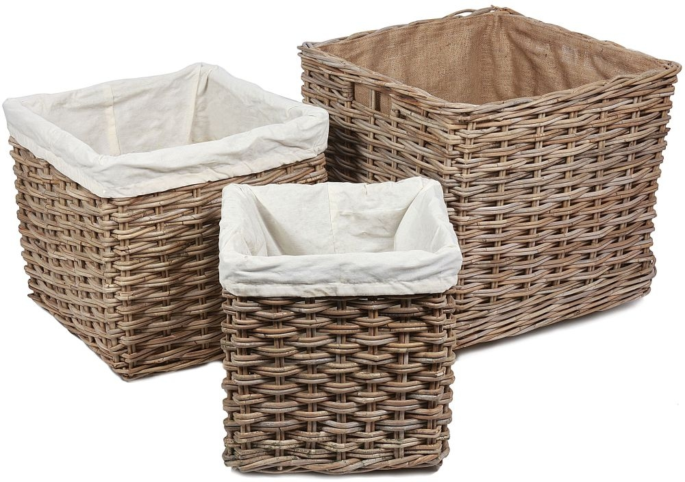 The Wicker Merchant Square Log Baskets with Hessian Linings (Set of 3)