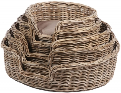 The Wicker Merchant Oval Dog Baskets with Cushions (Set of 5)