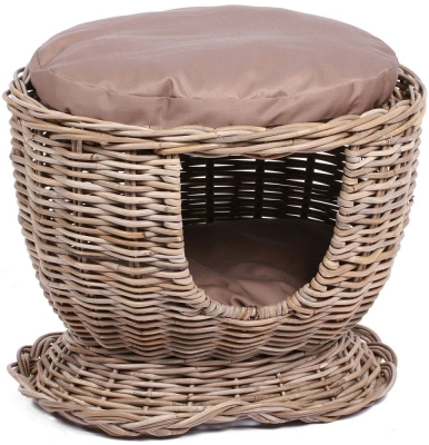 The Wicker Merchant Kooboo Grey Pet House with Cushion