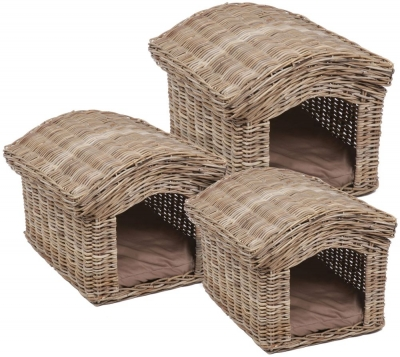 The Wicker Merchant Pet Houses with Removable Roofs (Set of 3)