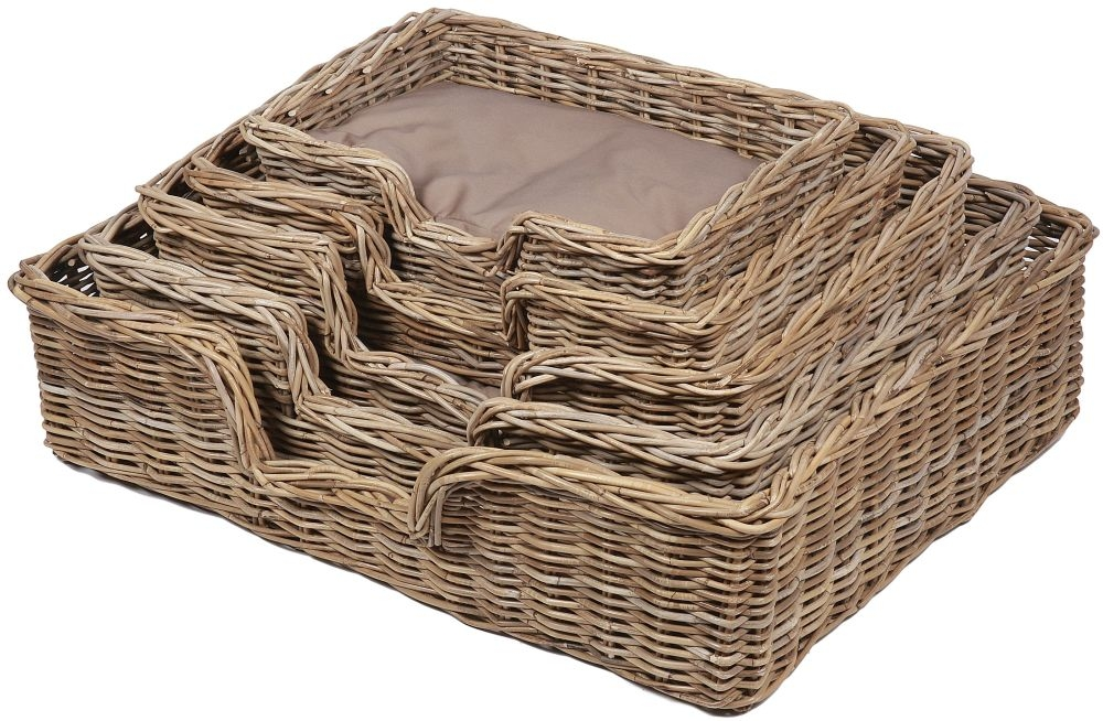 The Wicker Merchant Rectangular Dog Baskets with Cushions (Set of 5)