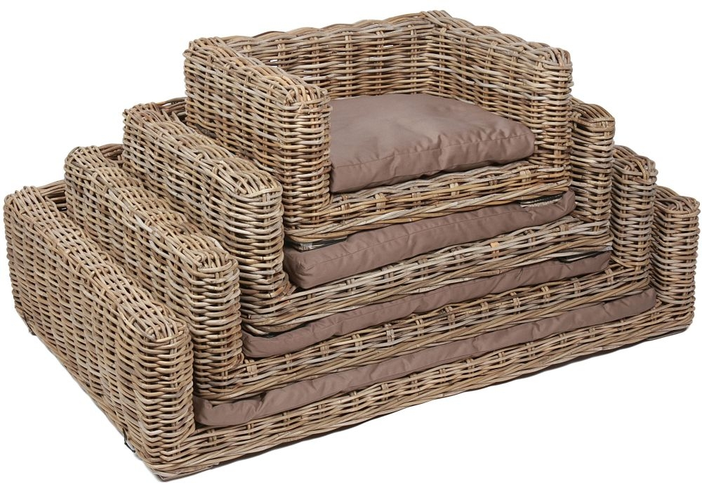 The Wicker Merchant Rectangular Dog Beds with Cushions (Set of 4)