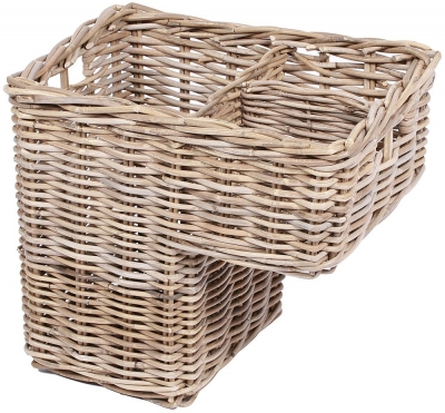 The Wicker Merchant Rectangular Step Basket with Centre Divider