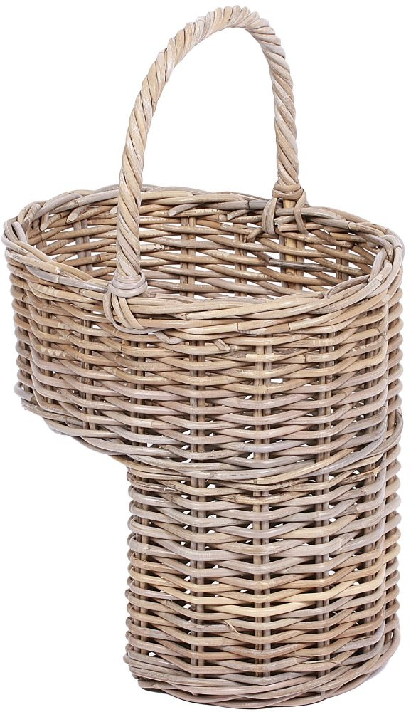 The Wicker Merchant Oval Step Basket with High Handle