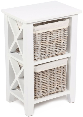 The Wicker Merchant 2 Basket Vertical Cabinet with Cotton Linings