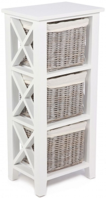 The Wicker Merchant 3 Basket Vertical Cabinet with Cotton Linings