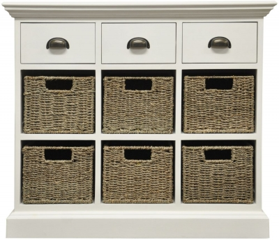 The Wicker Merchant 3 Drawer 6 Basket Unit