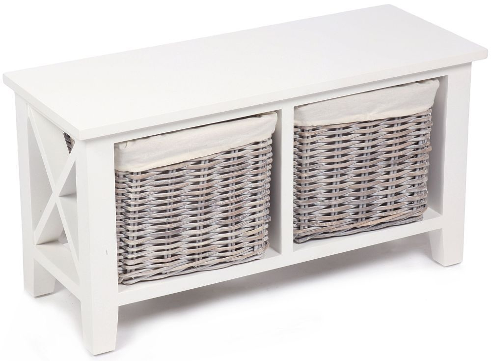 The Wicker Merchant 2 Basket Horizontal Cabinet with Cotton Linings