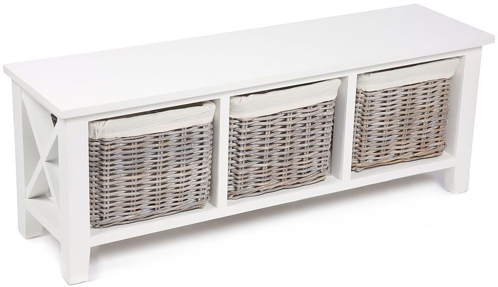 The Wicker Merchant 3 Basket Horizontal Cabinet with Cotton Linings
