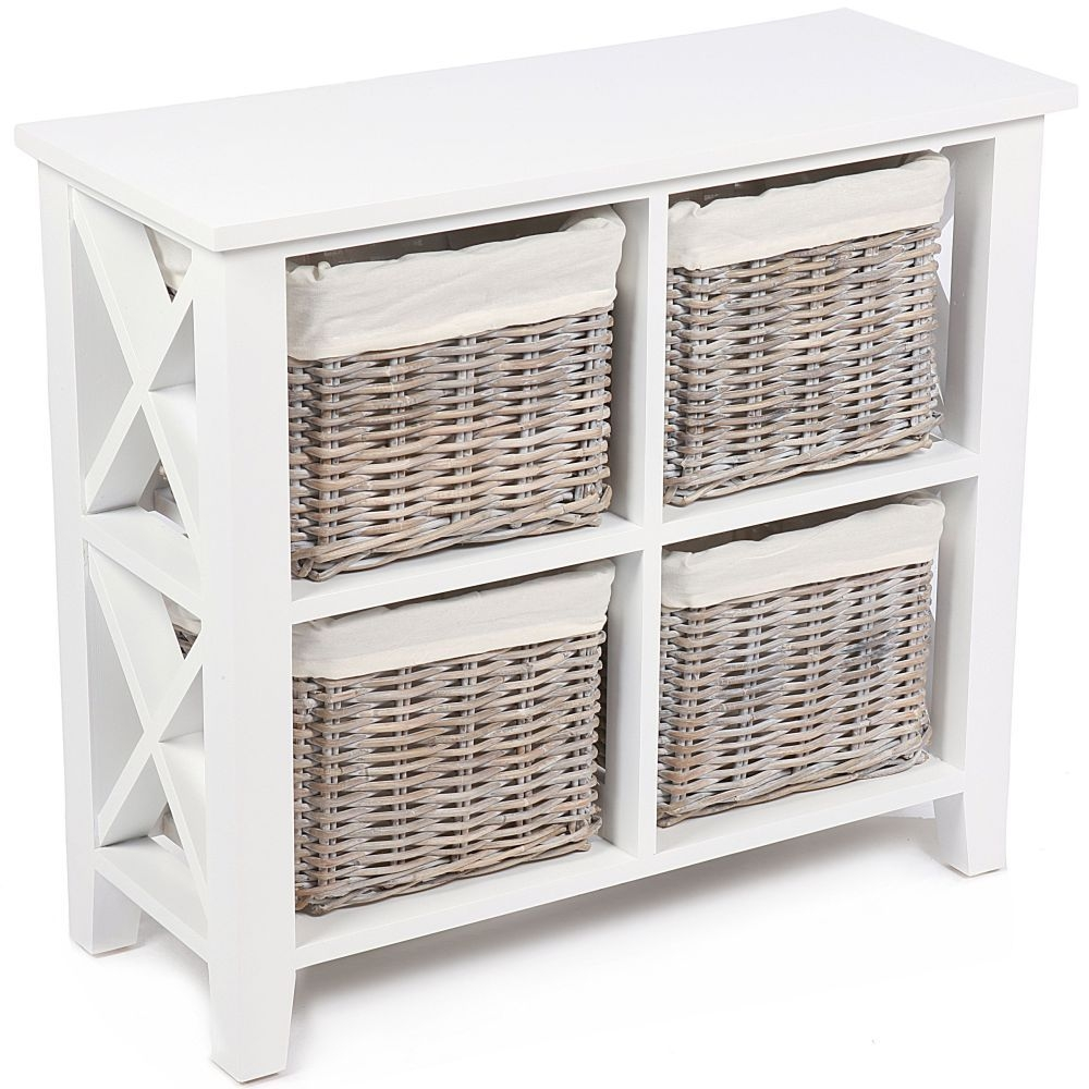 The Wicker Merchant 4 Basket Square Cabinet with Cotton Linings