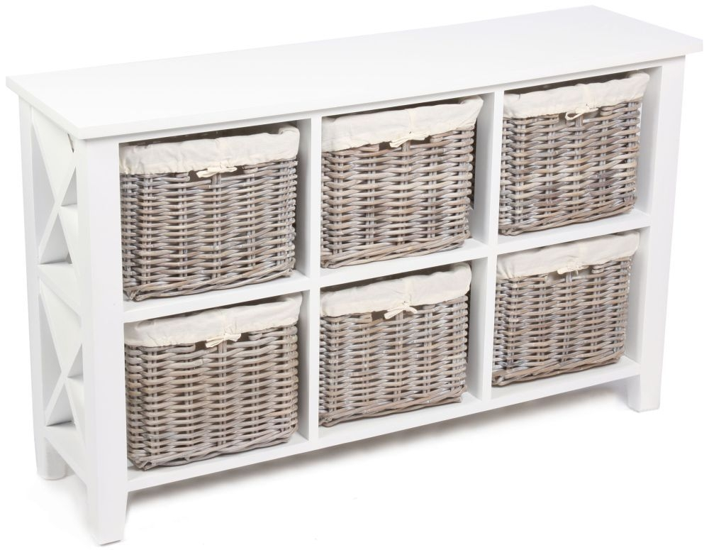 The Wicker Merchant 6 Basket Rectangular Horizontal Cabinet with Cotton Linings