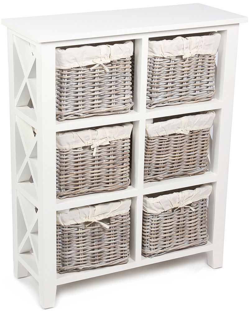 The Wicker Merchant 6 Basket Rectangular Vertical Cabinet with Cotton Linings