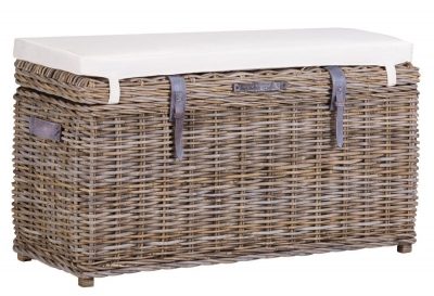 The Wicker Merchant Kooboo Grey Trunk Bench with Cushion