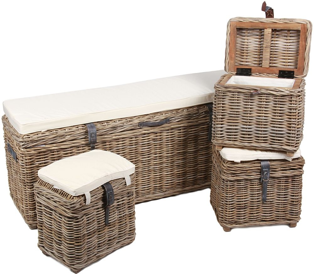 The Wicker Merchant Rectangular Trunk Bench with Cushion Leather Straps and Handles (Set of 4)