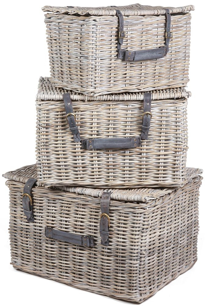 The Wicker Merchant Rectangular Trunk Box with Cushion Leather Straps and Handles (Set of 3)