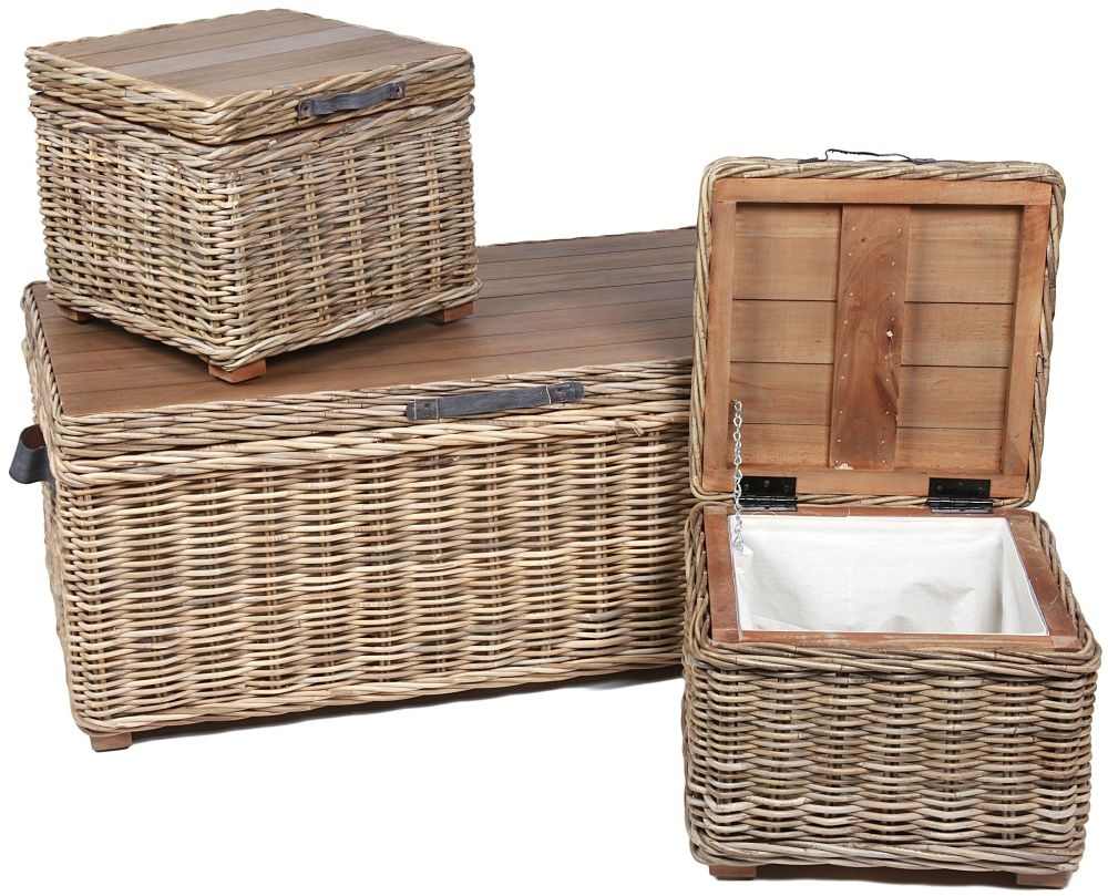 The Wicker Merchant Rectangular Trunks with Leather Handles and Metal Hinges (Set of 3)