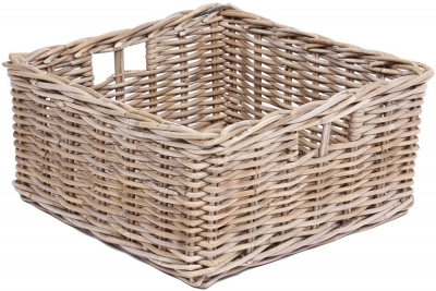 The Wicker Merchant Low Square Basket with Hole Handles