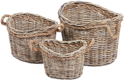 The Wicker Merchant Oval Baskets with Rope Handles (Set of 3)
