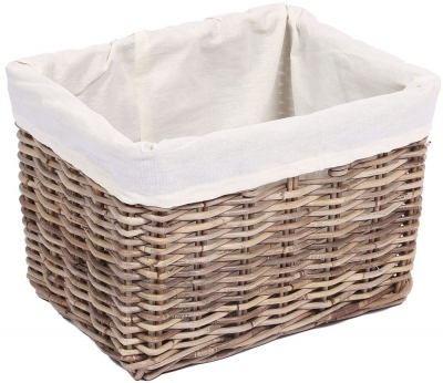 The Wicker Merchant Rectangular Basket with Hole Handles and Lining Medium