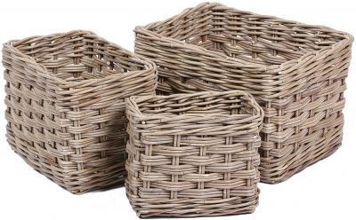 The Wicker Merchant Rectangular Baskets with Lining (Set of 3)