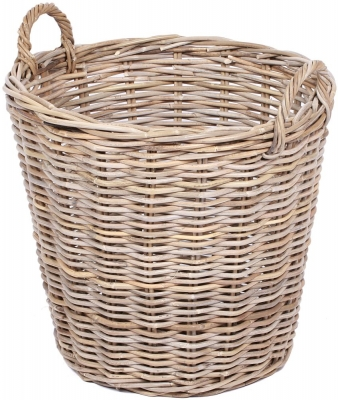 The Wicker Merchant Round Basket with Ear Handles
