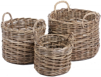 The Wicker Merchant Round Baskets with Ear Handles (Set of 3) WW-027