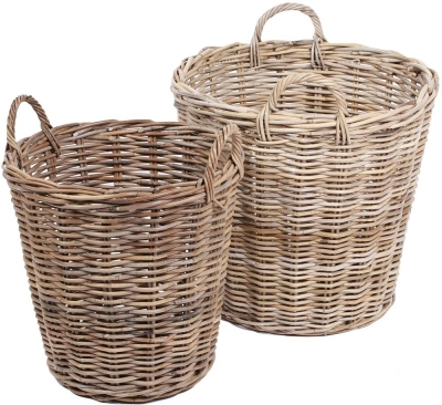 The Wicker Merchant Round Baskets with Ear Handles and Lining (Set of 2)