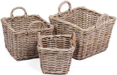 The Wicker Merchant Square Baskets with Ear Handles (Set of 3) WW-022