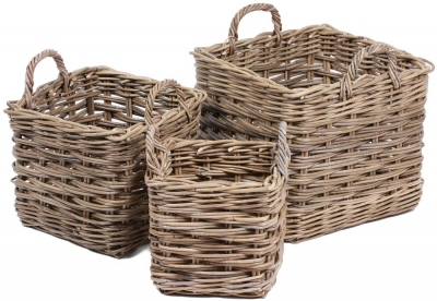 The Wicker Merchant Square Baskets with Ear Handles (Set of 3) WW-026