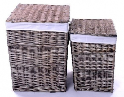 The Wicker Merchant Ash Grey Square Laundry Basket (Set of 2)