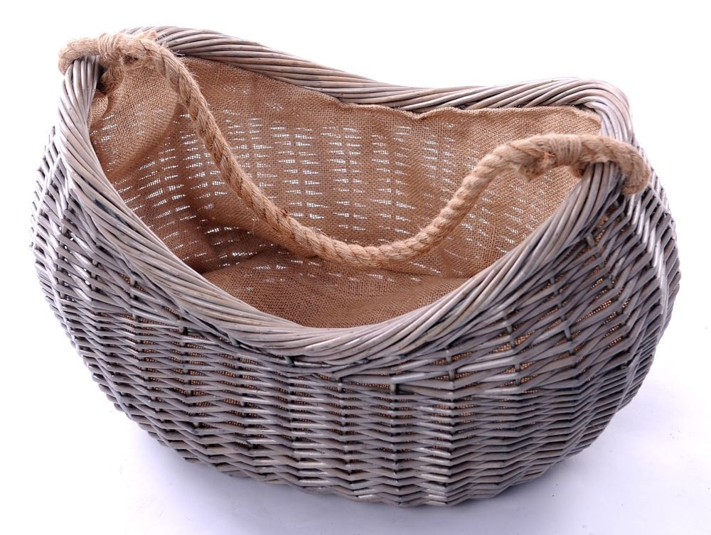 The Wicker Merchant Cradle Log Basket with Rope Handle and Hessian Lining