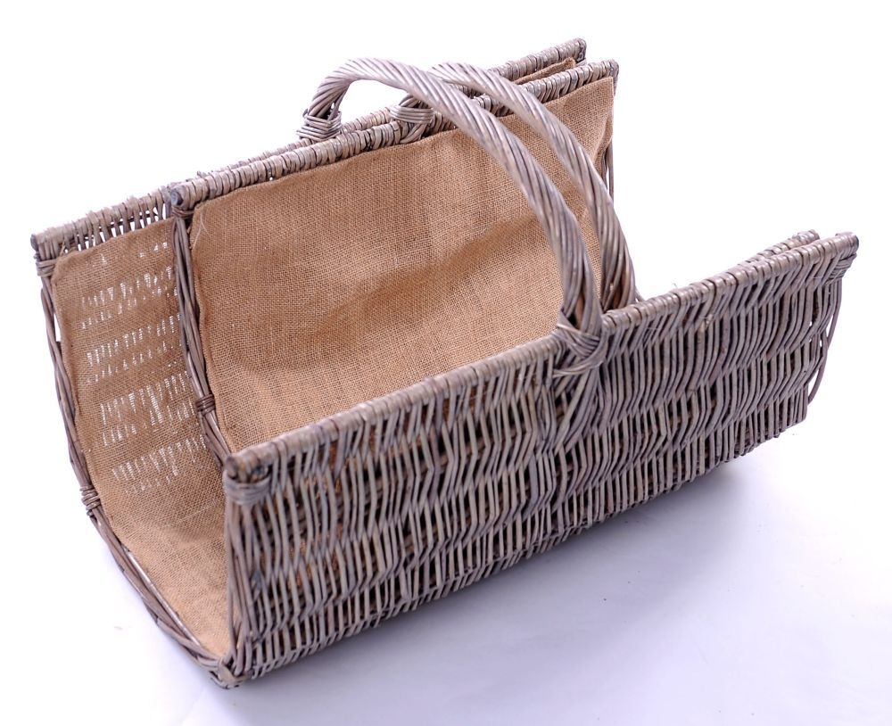 The Wicker Merchant Half Pipe Log Basket with Hessian Lining (Set of 2)