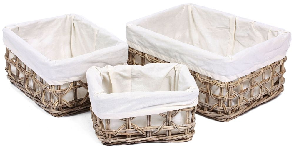 The Wicker Merchant Low Rectangular Baskets with Weaving and Lining (Set of 3)