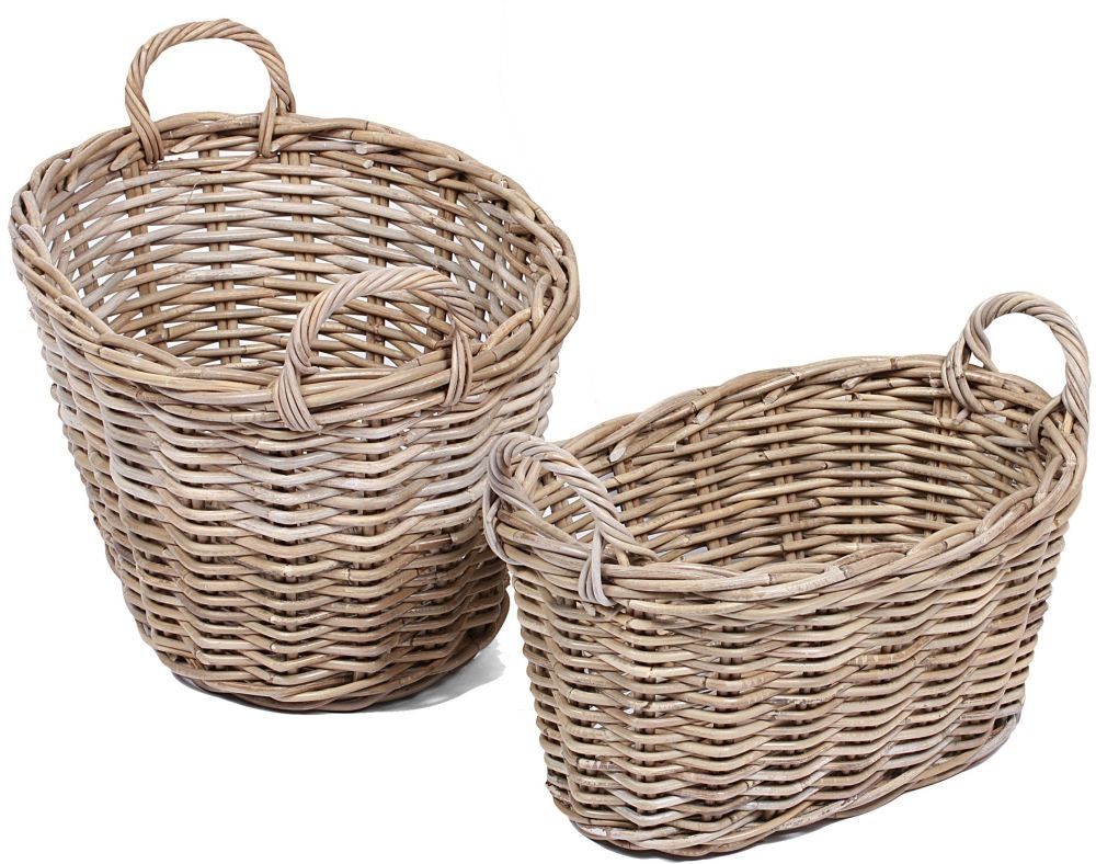 The Wicker Merchant Oval Baskets with Ear Handles and Lining (Set of 2)