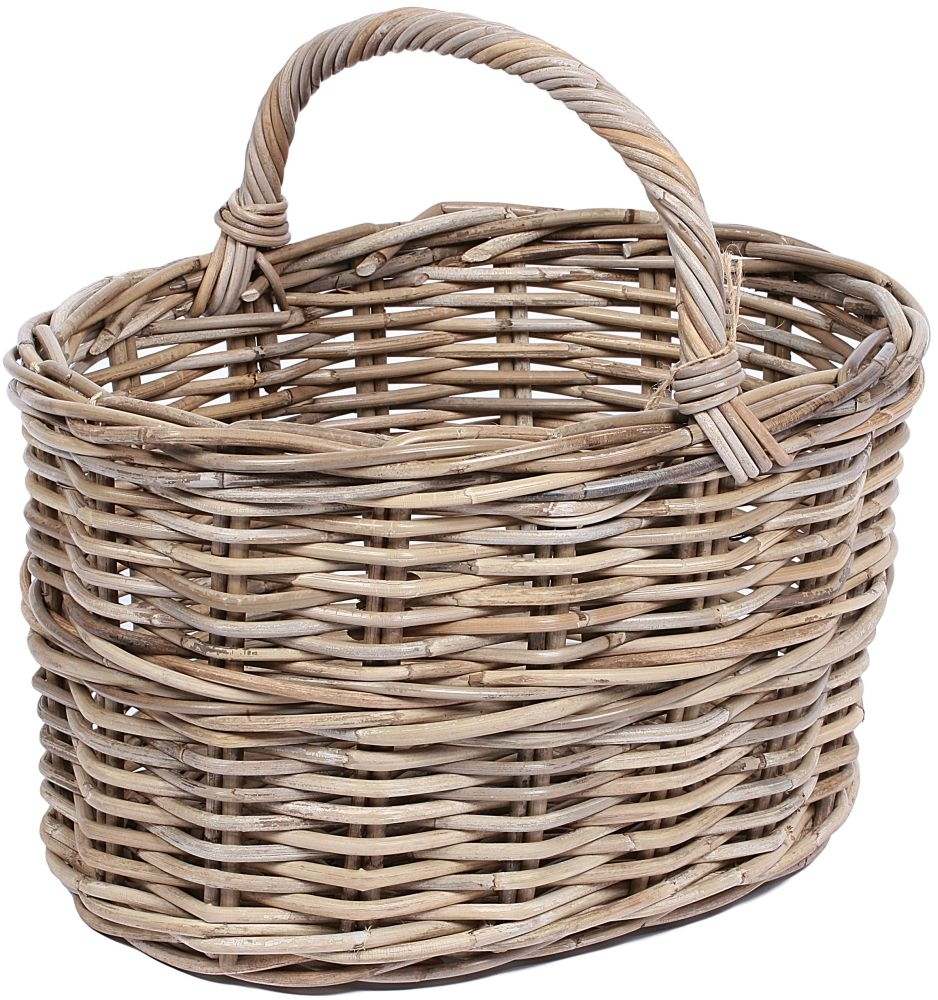 The Wicker Merchant Oval Fruit Basket with Border and High Handle