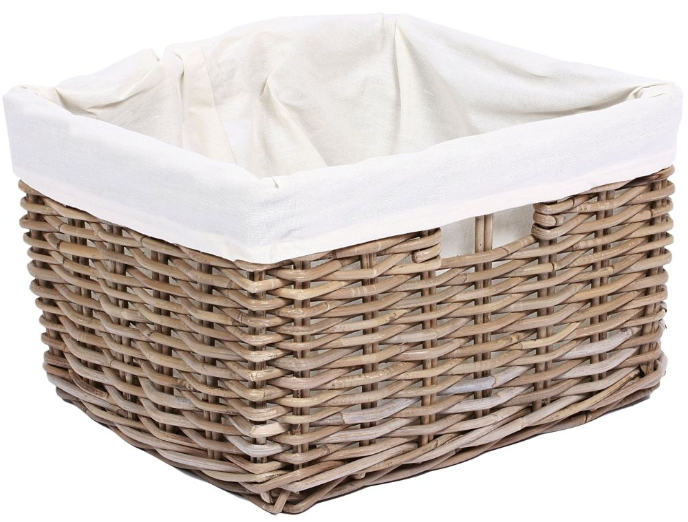 The Wicker Merchant Rectangular Basket with Hole Handles and Lining Extra large