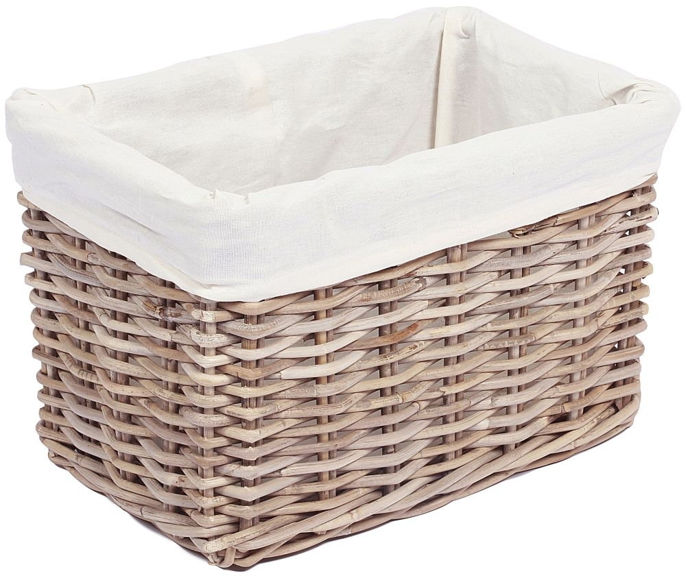 The Wicker Merchant Rectangular Basket with Hole Handles and Lining Large