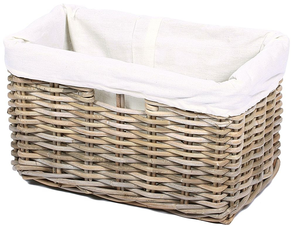 The Wicker Merchant Rectangular Basket with Hole Handles and Lining Small