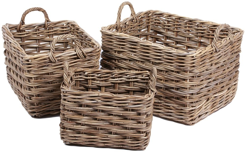 The Wicker Merchant Rectangular Baskets with Ear Handles and Lining (Set of 3)