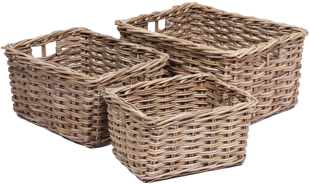 The Wicker Merchant Rectangular Baskets with Hole Handles (Set of 3) WW-019