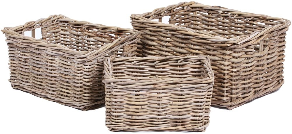 The Wicker Merchant Rectangular Baskets with Hole Handles (Set of 3) WW-035